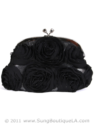 HBG90701 Black Floral Evening Bag, Black