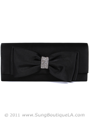 HBG90948 Black Evening Bag with Bow, Black
