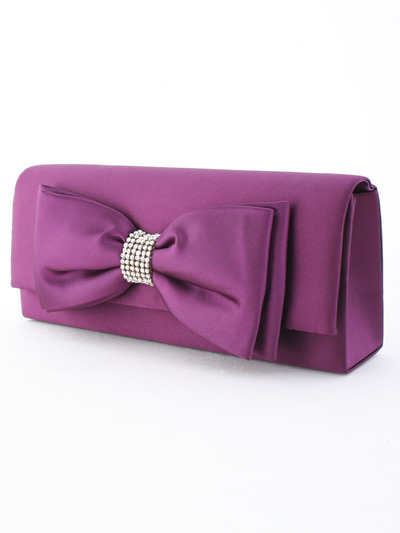 HBG90948 Purple Evening Bag with Bow - Purple, Front View Medium