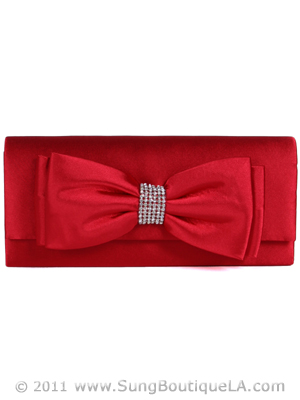 HBG90948 Red Evening Bag with Bow, Red