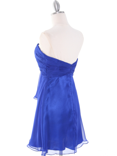 HK5744 Shirred Front Jeweled Homecoming Dress - Blue, Back View Medium