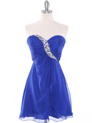 HK5744 Shirred Front Jeweled Homecoming Dress, Blue