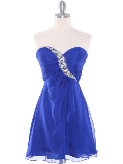 HK5744 Shirred Front Jeweled Homecoming Dress - Blue, Front View Medium