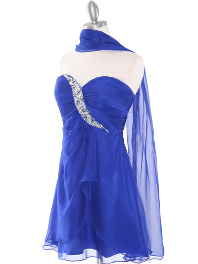 HK5744 Shirred Front Jeweled Homecoming Dress - Blue, Alt View Medium