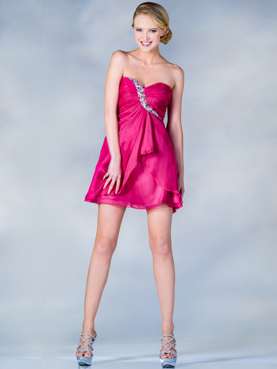 HK5744 Shirred Front Jeweled Homecoming Dress - Fuschia, Front View Medium