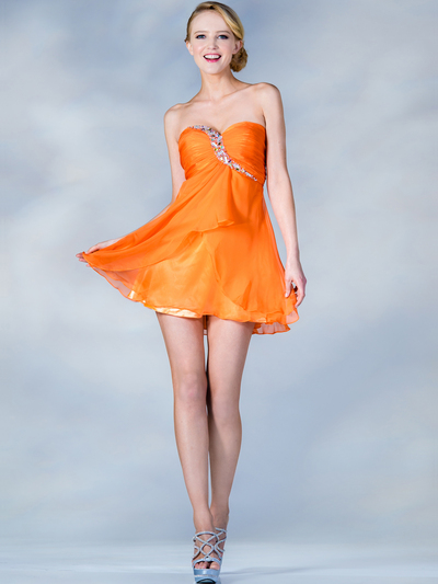 HK5744 Shirred Front Jeweled Homecoming Dress - Orange, Front View Medium