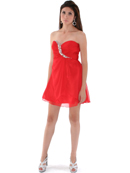 Red Shirred Front Jeweled Homecoming Dress