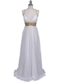 HK9163 White Beaded Evening Dress - White, Front View Thumbnail