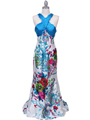 HK9176 Blue Halter Printed Evening Dress - Blue, Front View Thumbnail