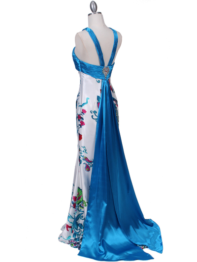 HK9176 Blue Halter Printed Evening Dress - Blue, Back View Medium