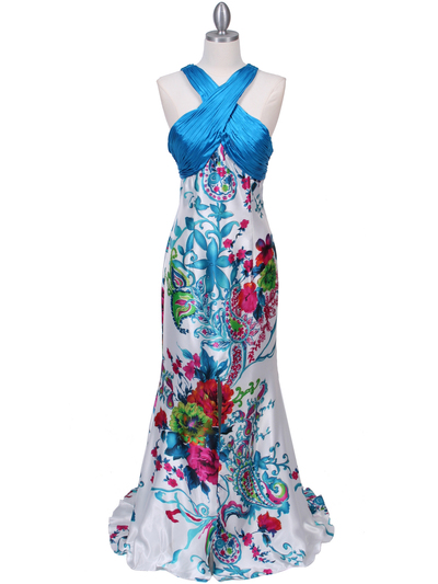 HK9176 Blue Halter Printed Evening Dress - Blue, Front View Medium