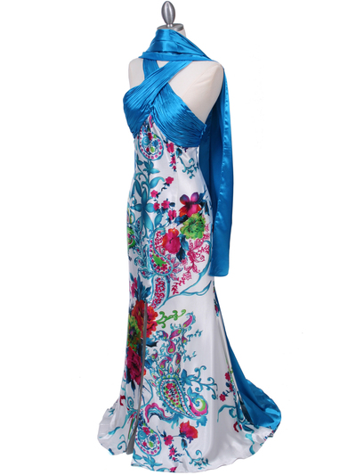 HK9176 Blue Halter Printed Evening Dress - Blue, Alt View Medium