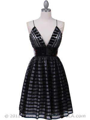 Black Lace Cocktail Dress - Front Image