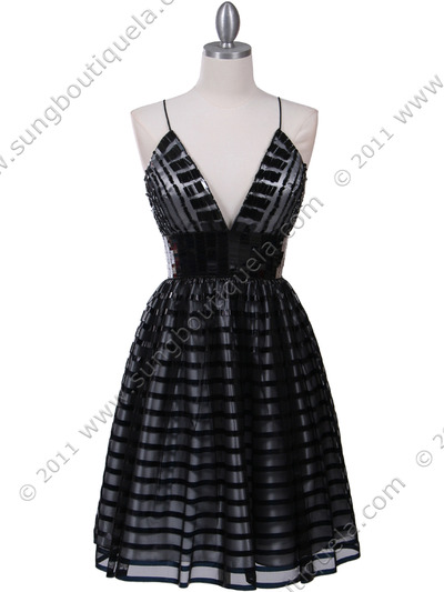 HK9212 Black Lace Cocktail Dress - Black, Front View Medium