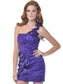 Purple One Shoulder Floral Cocktail Dress with Beads - Front Image