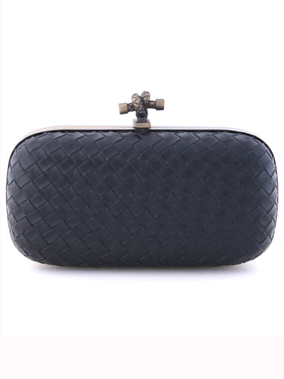 ICP1532 Black Leather Weave Clutch - Black, Front View Medium
