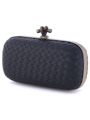 ICP1532 Black Leather Weave Clutch - Black, Alt View Thumbnail