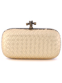 ICP1532 Gold Leather Weave Clutch - Gold, Front View Thumbnail