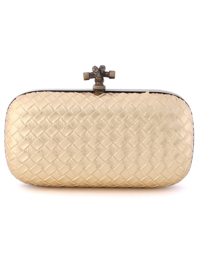 ICP1532 Gold Leather Weave Clutch - Gold, Front View Medium