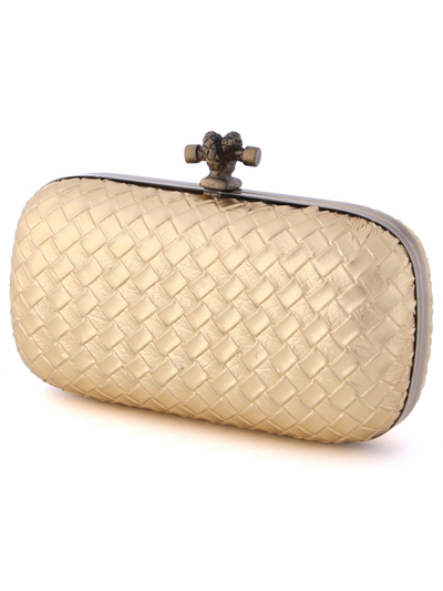 ICP1532 Gold Leather Weave Clutch - Gold, Alt View Medium