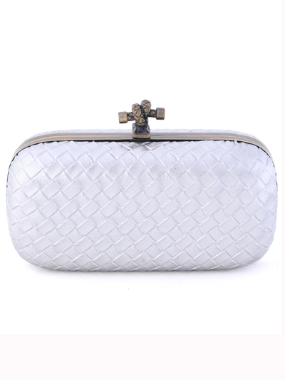 ICP1532 Silver Leather Weave Clutch - Silver, Front View Medium