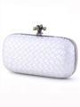 ICP1532 Silver Leather Weave Clutch - Silver, Alt View Thumbnail