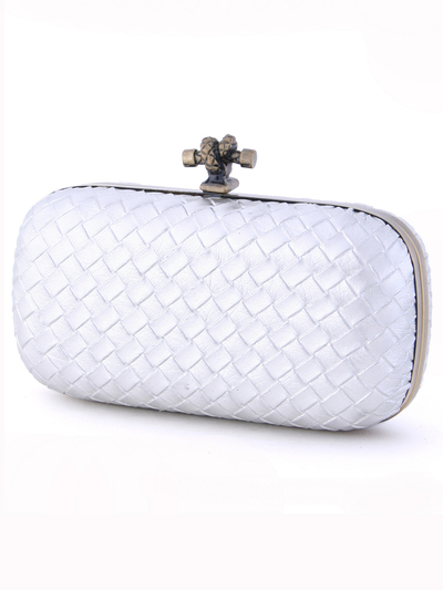 ICP1532 Silver Leather Weave Clutch - Silver, Alt View Medium