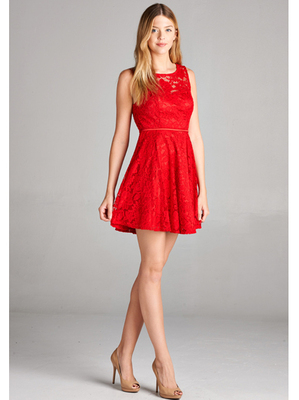 J1004 Lace Overlay Cocktail Dress, Red