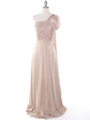 J1330S One Shoulder Jeweled Evening Dress - Beige, Front View Thumbnail