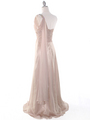 J1330S One Shoulder Jeweled Evening Dress - Beige, Back View Thumbnail