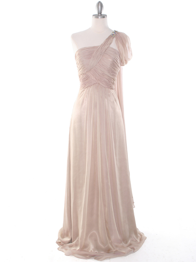 J1330S One Shoulder Jeweled Evening Dress - Beige, Front View Medium