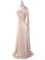 J1330S One Shoulder Jeweled Evening Dress - Beige, Alt View Thumbnail