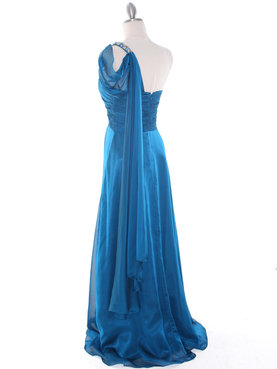 J1330S One Shoulder Jeweled Evening Dress - Teal Blue, Back View Medium