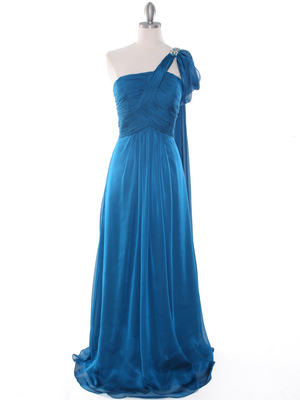 J1330S One Shoulder Jeweled Evening Dress, Teal Blue