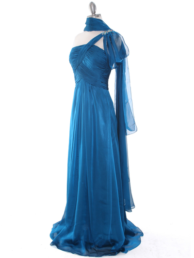 J1330S One Shoulder Jeweled Evening Dress - Teal Blue, Alt View Medium