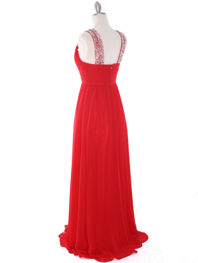 J1332S Jeweled Evening Dress - Red, Back View Medium