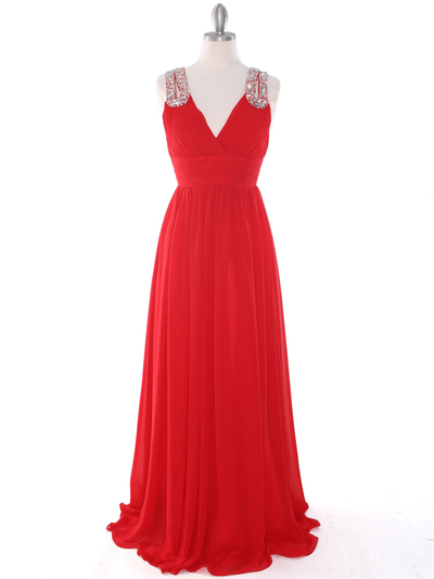 J1332S Jeweled Evening Dress - Red, Front View Medium