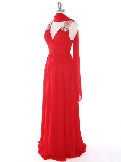 J1332S Jeweled Evening Dress - Red, Alt View Medium