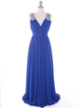 J1332S Jeweled Evening Dress - Royal Blue, Front View Thumbnail