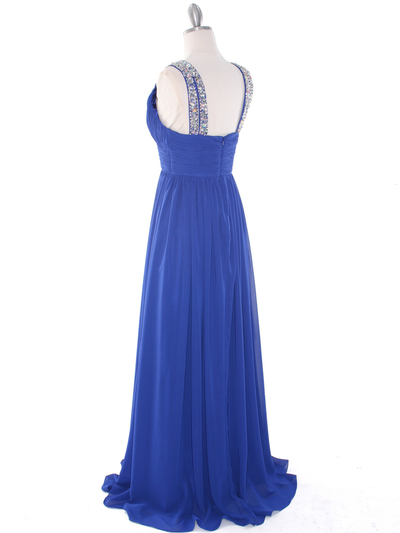 J1332S Jeweled Evening Dress - Royal Blue, Back View Medium