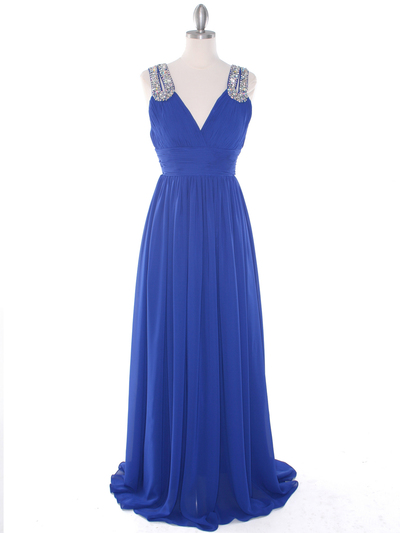 J1332S Jeweled Evening Dress - Royal Blue, Front View Medium