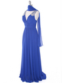 J1332S Jeweled Evening Dress - Royal Blue, Alt View Thumbnail