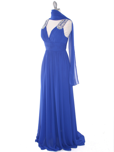 J1332S Jeweled Evening Dress - Royal Blue, Alt View Medium