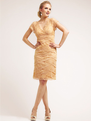 J8002 Lace and Elegant Layer Cocktail Dress, Gold