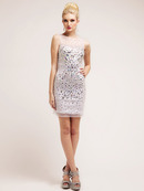 Large Stone Embellished Illusion Cocktail Dress