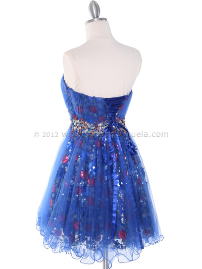 JC004 Strapless Net Overlay Sequin Homecoming Dress - Royal Blue, Back View Medium
