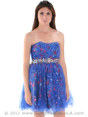 JC004 Strapless Net Overlay Sequin Homecoming Dress, Royal Blue