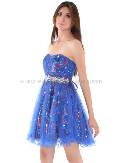JC004 Strapless Net Overlay Sequin Homecoming Dress - Royal Blue, Alt View Medium