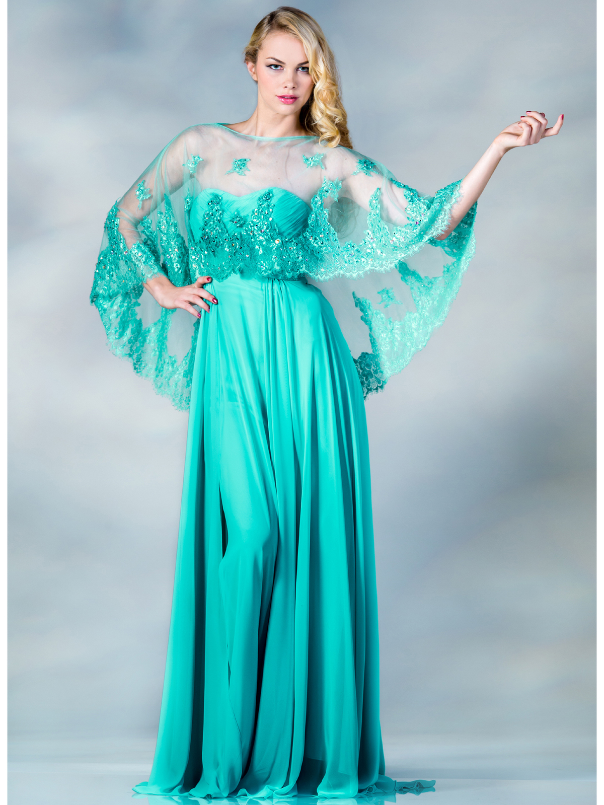 Mint Evening Dress With Poncho Sung Boutique La
