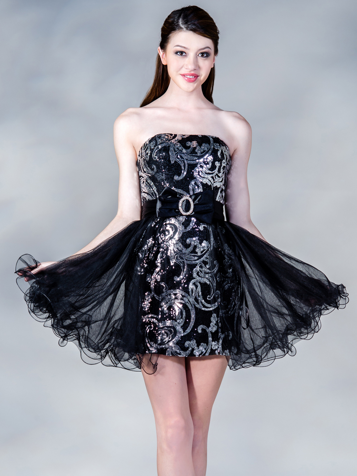 Black Silver Party Dress